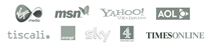 msn, yahoo, tiscali, sky, channel 4, aol, times online, virgin media, orange